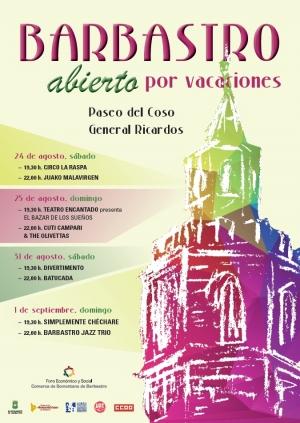 """El Foro Económico y Social Presenta el Ciclo """"Barbastro, Abierto Por Vacaciones"""""""